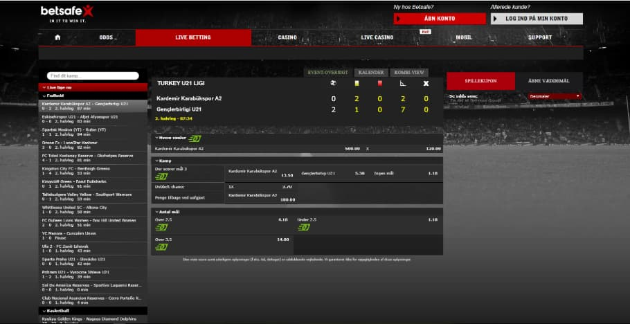 Betsafe Live Betting Side