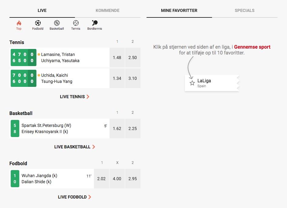 Live odds hos LeoVegas Sport