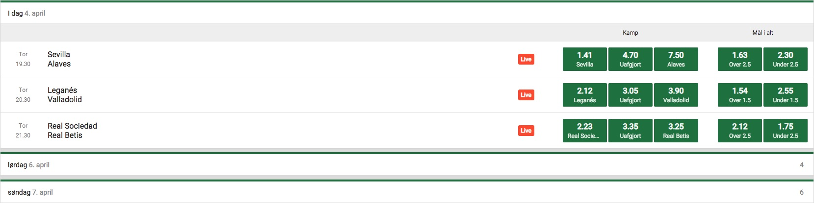 Mr Green live odds for fodbold